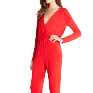 Red Long Sleeve BCBGeneration Jumpsuit